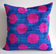 Sukan / SALE Soft Hand Woven Silk Velvet Ikat Pillow by sukan