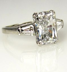 3.09ct Estate RADIANT Cut Diamond Engagement Ring EGL USA in Platinum with Baguettes  | followpics.co