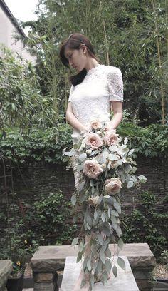 Cascading Bouquet  vintage color rose with Eucalyptus    www.classyflower.com   designed florist Olivia Yun Lim