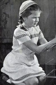 Dress and Calot crochet pattern from Crochet Fashions for Small Fry, originally published by Spool Cotton Company, Book 175, in 1941.