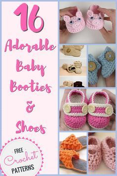 These baby booties are just soooo cute! Check out these 16 FREE CROCHET PATTERNS for baby booties and shoes.