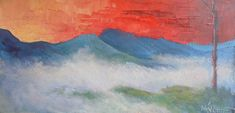 "Where ART Lives Gallery Artists Group Blog: Mountain Landscape Painting, Misty Mountain Morning, Daily Painting, Small Oil Painting, 6x12"" Oil Landscape"