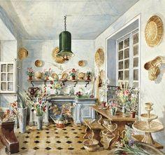 Alexandre Serebriakoff - The Flower Room of Madame Lopez-Willshaw Potted Palms, Messy Nessy Chic, 1950s Decor, Flower Room, Interior Rendering, Vintage Interiors, Gouache, Art Decor, Interior Decorating