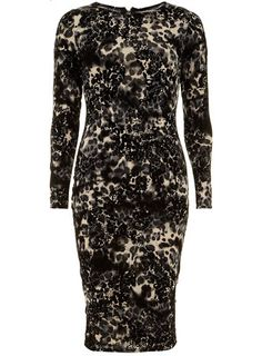 Grey flock leopard midi dress - Pencil Dresses  - Dresses