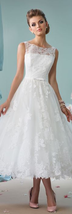 Wedding Dresses by Mon Cheri - Enchanting Spring 2016 ~Style No. 116136 #shortlaceweddingdress #shortweddingdresses