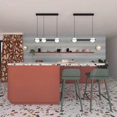 Laurent Collection – mooielight Terrazzo, Kitchen Lighting, Home Lighting, Kitchen Spotlights, Accent Lighting, Kitchen Interior, Kitchen Design, Cocina Office, Cuisines Design