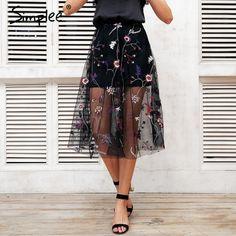 Simplee Bordado malha transparente Mulheres saia longa saia de cintura alta preta estilo streetwear 2018 verão maxi saia feminina