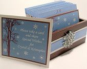 Wedding Guest Book Box - Chocolate, Ice Blue and White Theme