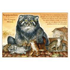 Carte postale de chat de Séverine Pineaux, mois de Septembre, Croque Minet