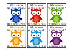 Use the cute rainbow colored owl homework passes in your classroom! to her -school planning- postboard via the Juxtapost bookmarklet. Owl Classroom Decor, Classroom Freebies, Classroom Themes, School Classroom, School Fun, School Teacher, Classroom Organization, Classroom Management, School Ideas
