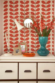 Orla Kiely stems wallpaper - image originally from Cookie Magazine