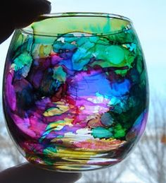 All Thumbs Crafts: Faux Stained Glass Clean with alcohol, drop ink, spray with canned air.