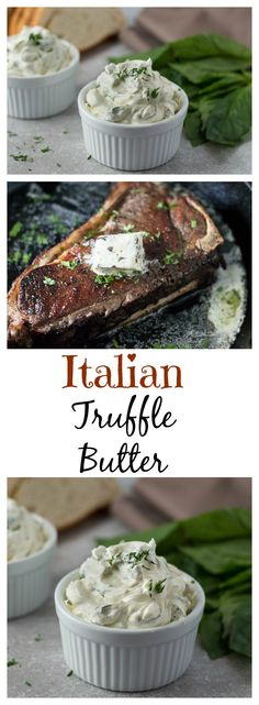 Italian Herb Truffle Butter. Easy to make flavored butter that is great on steaks, roasted chicken, mashed potatoes, and vegetables! Freezer friendly too!
