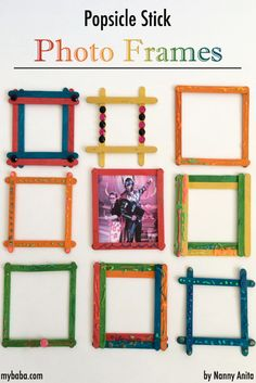 Make colourful photo frames with popsicle sticks.
