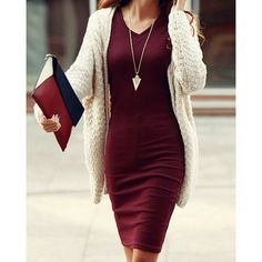 Burgundy bodycon midi dress w/ matching clutch, gold arrowhead pendant necklace, cream knit tunic, long dark hair, lightly tanned skin