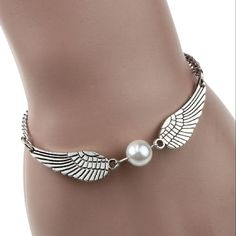 Lowpricenice(TM) Silver Infinity Retro Pearl Angel Wings Jewelry Dove Peace Bracelet