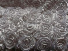 ROSE Ribbon 3D Bridal VINTAGE Dress SATIN Fabric WHITE