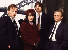 The cast of Our Friends in the North, dressed in 1970s clothes: Christopher Eccleston, Gina McKee, Mark Strong and Daniel Craig.