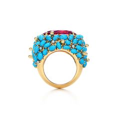 Ring in 18k gold with an 18.02-carat rubellite, turqouise and diamonds.   Tiffany & Co.