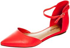 Breckelles Women's Faux Leather Ankle Strap D'Orsay Flats Grapefruit 6