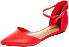 Breckelles Women's Faux Leather Ankle Strap D'Orsay Flats Grapefruit 6