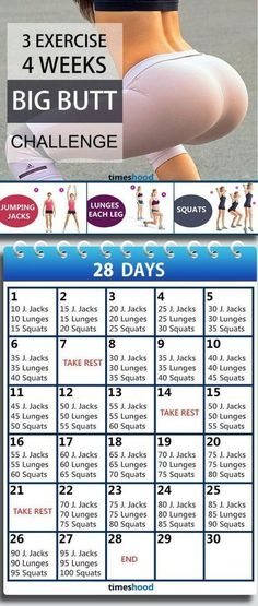 3 Exercise and 4 Weeks Butt workout plan for fast results. Butt workout for beginners. Butt workout challenge at home without any instruments. 28 Days bigger butt workout plan. #ButtWorkouts