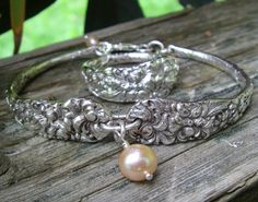 """Matching Bracelet and Ring fashioned from Sterling Demitasse Spoons...pattern """"Chrysanthemum"""" by Stieff Sterling...circa:1904...Commissioned Salvaged Silver Jewelry through Health Haven, Deep River, Ontario"""