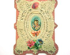 Antique Paper Lace Victorian Valentine Card