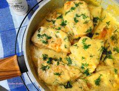 Schab w sosie śmietanowo-czosnkowym Slow Food, Kitchen Recipes, Pork Recipes, Food Art, Mashed Potatoes, Avocado, Food And Drink, Chicken, Dinner