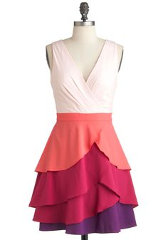 Admire the View Dress - Short, Multi, Orange, Purple, Pink, Tiered, Prom, Party, A-line, Sleeveless, Pastel, Daytime Party, V Neck