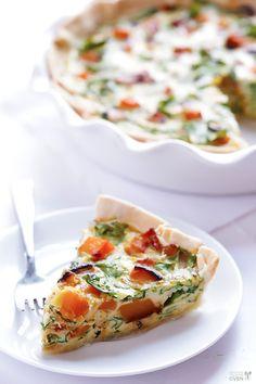Butternut Squash, Arugula & Bacon Quiche Recipe | gimmesomeoven.com