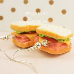 Ham and Cheese Sandwich Earrings Miniature Food Polymer Clay Handmade by Sweet Clay Creations