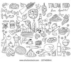 Set Of Doodles, Hand Drawn Rough Simple Italian Cuisine Food Sketches. Isolated On White Background Ilustración vectorial en stock 227469841 : Shutterstock
