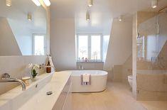 Magnificent Houses - feminine and clean *** Casa Magnífica - feminina e clean Attic Bathroom, Bathroom Spa, Bathroom Ideas, Home Budget, Kitchen On A Budget, Modern White Bathroom, Swedish Design, Cool Rooms, Home Interior Design