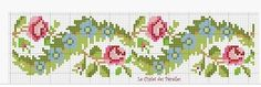 Cross stitch old fashioned rose border