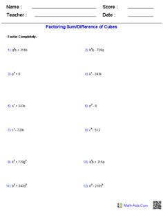 Factoring a Sum/Difference of Cubes Polynomial Functions Worksheets