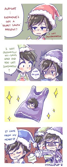 A fancomic for Osomatsu-san Episode 11 XDDD i really hoped he gave him a shirt but i remembered it was a random exchange so…… SECRET SANTA! <3 ahaahahhha! they already do have the outfit anyway! <3