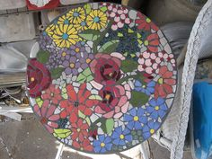 Mosaic table top by freddasusan75069, via Flickr