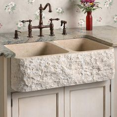 Polished Marble 60/40 Offset Double-Bowl Farmhouse Sink - Chiseled Front - Kitchen