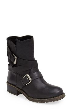 Lucky Brand 'Dallis' Moto Boot (Women) A wraparound buckled strap amps up  the moto-chic attitude of a casually rugged boot crafted from slightly  distressed ...