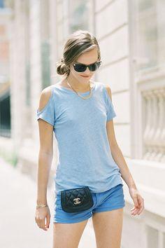 Cute hair do + Cut out blue tee + blue shorts + Chanel