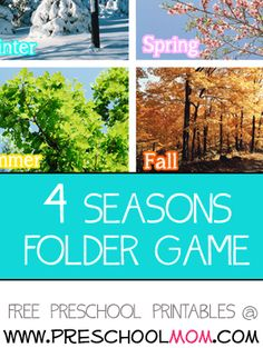 Seasonal Sort File Folder Game A fantastic full color photograph file folder game for children to sort out what belongs in each season.   This is a great game to play individually or as a class.  Free File Folder Games