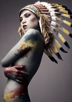 Asian woman with feather headdress and body painting. Native American Headdress, Native American Indians, Native Americans, Dark Beauty, Asian Beauty, Indian Headress, Tribal Warrior, War Bonnet, Feather Headdress