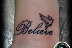 Letters Tattoo is a good suggestion for a small tattoo. Believe tattoo by tattoo artist Manos