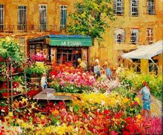 Marché aux fleurs, Aix en Provence - Painting,  46x38 cm ©2009 par Cousteau -  Peinture