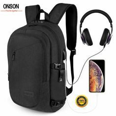 """Anti-Theft Waterproof Backpack External USB Charge Port 17"""" Laptop Casual Travel Notebook Laptop, Laptop Bag, Laptop Cases, Pill Pockets, Swiss Travel, 17 Inch Laptop, Anti Theft Backpack, Waterproof Backpack, Computer Bags"""