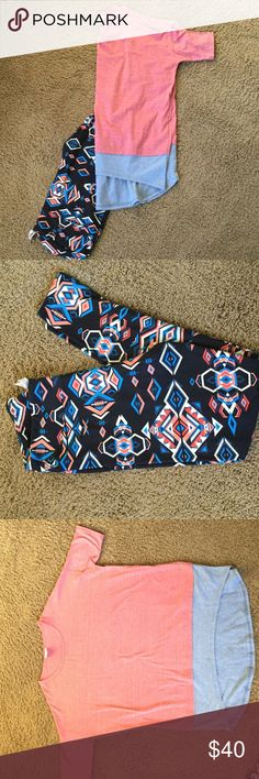 LuLaRoe Tall & Curvy Leggings & Small Irma This is a gorgeous outfit! Worn once then hand washed, so it is like new. TC leggings are super soft, with black, cream, blue & two shades of orange in the design. The Irma is a heathered shade of orange/red with a blue bottom. LuLaRoe Other