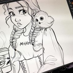 I love this. The Harry Potter theme, her braids, her owl and her coffee mug all just look so fantastic
