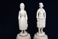 Antique, Dieppe, Ivory, Pair, Fisher Folk, Fishermen, Fishmongers, Carved Ivory, French, 19th Century, On Plinths, Costume, Carved, Vintage by DecadentAndFabulous on Etsy