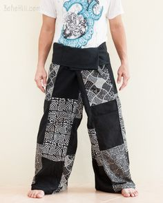 Black Thai Fisherman Pants Handmade Patchwork Wrap Around Trousers (SOL12)